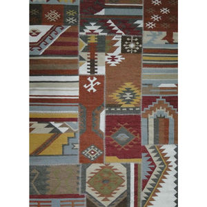 Tapete Lã Killim Patchwork Colorido Abdalla 2,50x2,00m