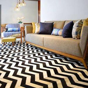 Tapete Luxo Geo Zigzag Preto e Branco 1,50x2,00m