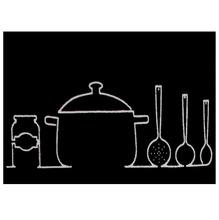 Tapete para Cozinha Cleankasa Panelas Preto 0,50x0,70m