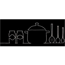 Tapete para Cozinha Cleankasa Panelas Preto 0,50x1,20m