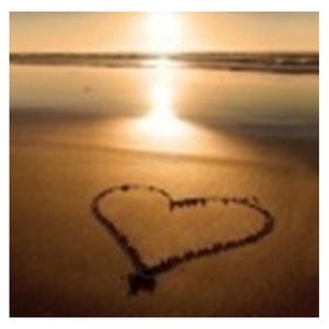 Tela Coração na Areia 30x30cm
