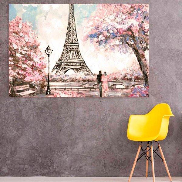 907938fe2 Tela Decorativa Abstrato Pintura Torre Eiffel Pink