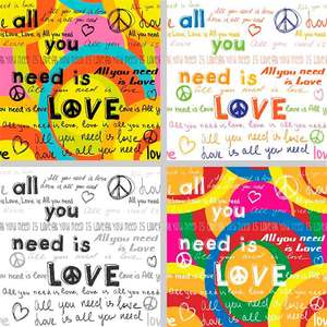Tela Love Peace 30x30cm