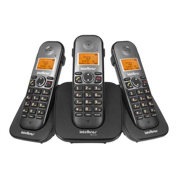 68e26a2f3 Telefone sem Fio com Viva Voz e 2 Ramais TS5120 Intelbras
