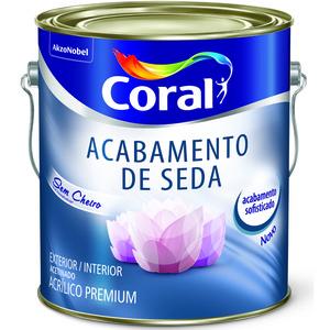 Tinta Acrílica Acetinado Premium  Acabamento de Seda Branco 3,6L Coral