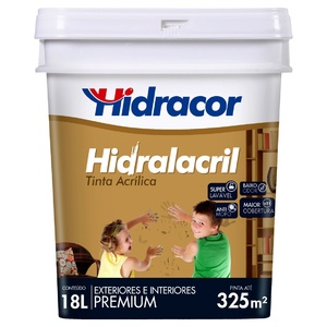 Tinta Acrílica Acetinado Hidralacril Premium Branco Gelo 18L Hidracor