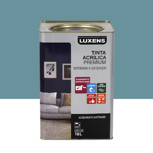 Tinta Acrílica Acetinado Premium Azul Seco Retrô 18L Luxens