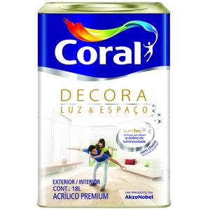 Tinta Acrílica Fosca Premium Branca Decora Luz & Espaço 18L