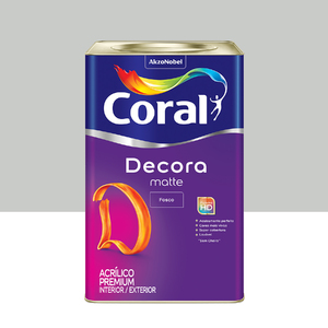 Tinta Acrílica Fosca Premium Decora Algodão Cinzento 18L Coral