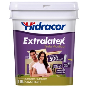 Tinta Acrílica Fosco Extralatex Standard Amarelo Canário 18L Hidracor