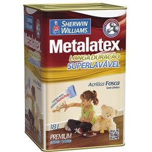 Tinta Acrílica Fosco Metalatex Superlavável 18L Branco Gelo Sherwin Williams