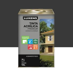Tinta Acrílica Fosco Premium Preto 18L Luxens
