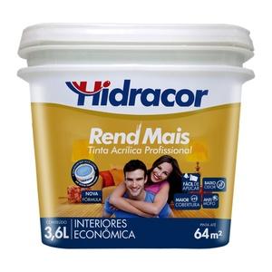 Tinta Acrílica Fosco RendMais Econômica Branco 3,6L Hidracor