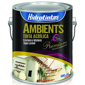 Tinta Acrílica Semi Brilho Premium Ambients Amarelo Ouro 3,6L Hidrotintas