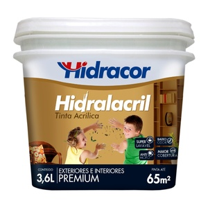 Tinta Acrílica Semibrilho Hidralacril Premium Laranja Havaí 3,6L Hidracor