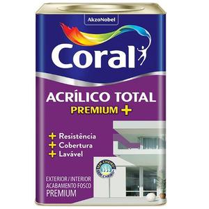 Tinta Acrílico Total Fosco Premium Branco Gelo 18L Coral
