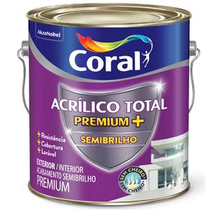 Tinta Acrílico Total Semibrilho Premium Branco 3,6L Coral