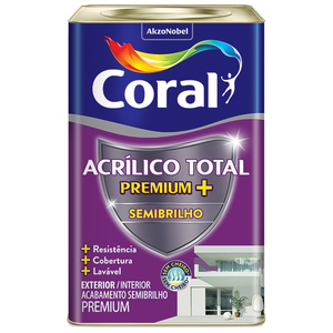 Tinta Acrílico Total Semibrilho Premium Gelo 18L Coral