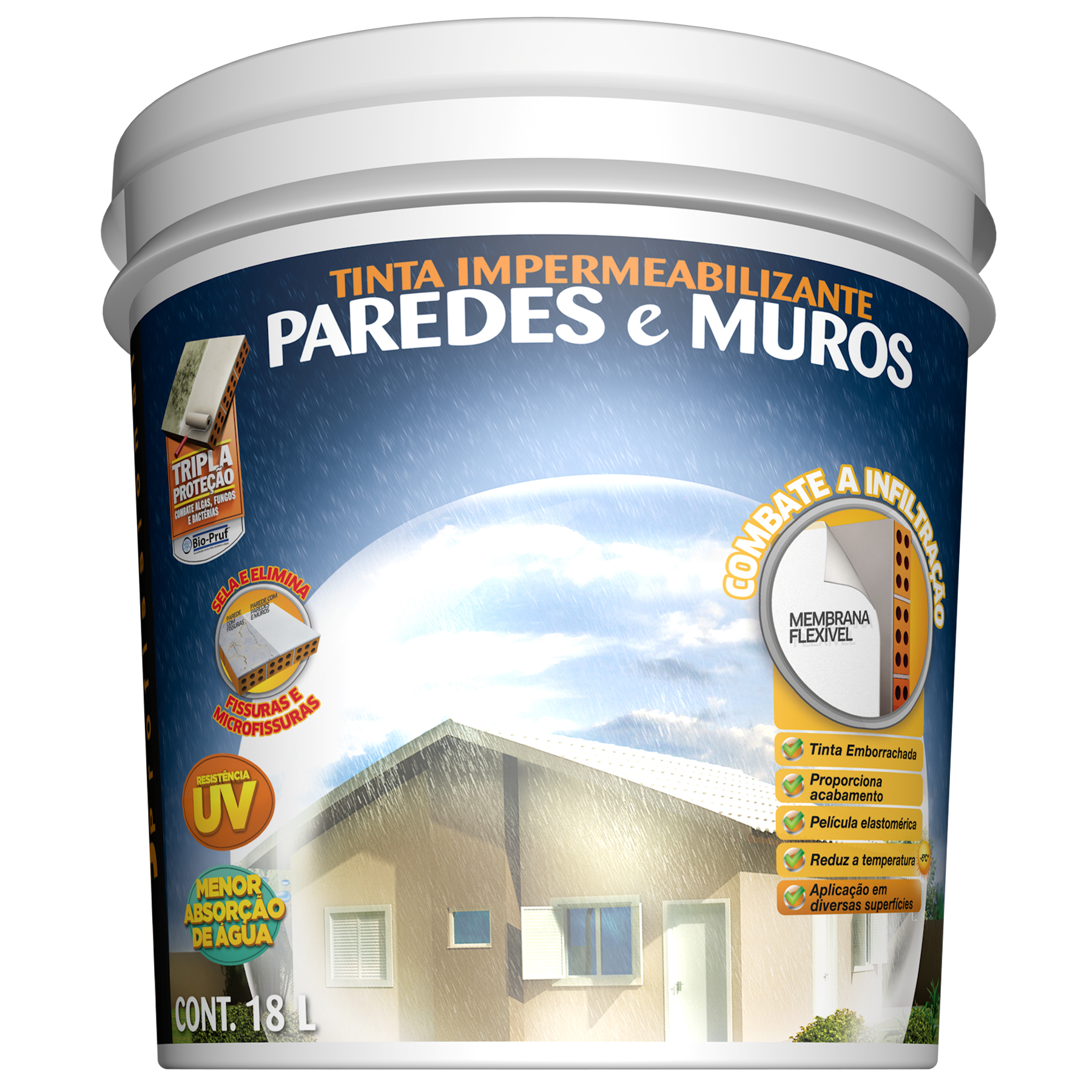 Tinta impermeabilizante paredes e muros 18l concreto - Impermeabilizante para paredes ...