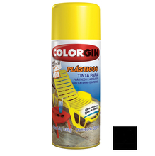 Tinta Spray Colorgin Plásticos Preto 350ml