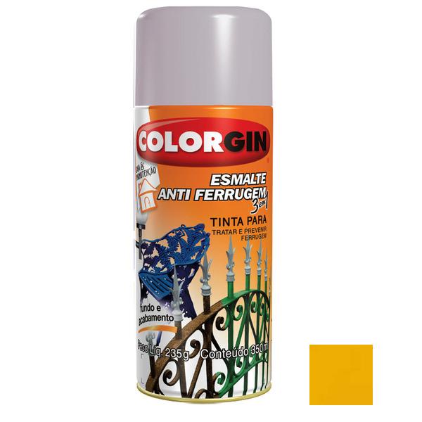 Tinta spray brilhante esmalte antiferrugem 3x1 amarelo for Esmalte para baneras en spray