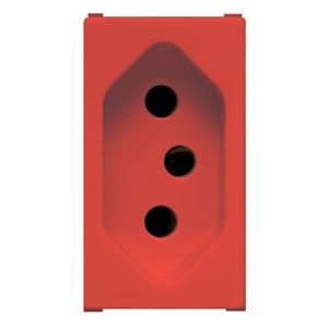 TOMADA SIMPLES 2 POLOS +TERRA S/PLACA 250V 10A PLASTICO ABS VERMELHA NBR 14136 COMPRIMENTO 4,45 CM LARGURA 2,50 CM ALTURA 41,00 CM