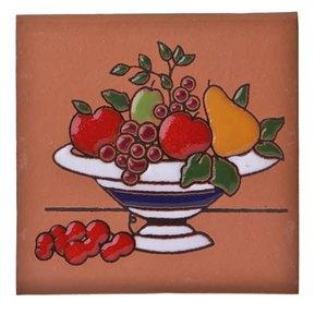 Tozeto 8 x 8 cm Cerâmica Natural Cappuccino Decorado Fênix