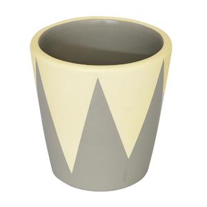 Vaso Cerâmica Cone Nordic Amarelo e Cinza Pequeno
