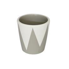 Vaso Cerâmica Cone Nordic Branco e Cinza Mini
