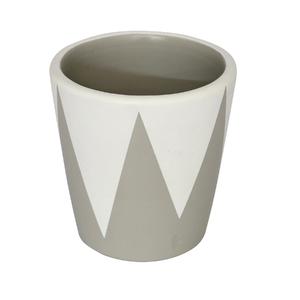Vaso Cerâmica Cone Nordic Branco e Cinza Pequeno