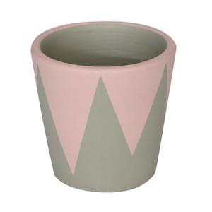 Vaso Cerâmica Cone Nordic Cinza e Rosa Pequeno