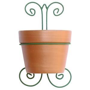 Vaso Cerâmica e Ferro Suporte 32x21cm Natural Associação Adelino