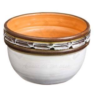 Vaso Cerâmica Egito 13x24cm Branco e café Associação Adelino