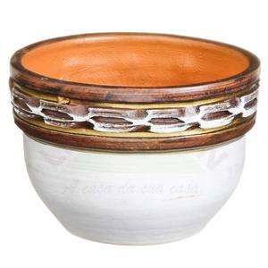 Vaso Cerâmica Egito 9x13cm Branco e café Associação Adelino