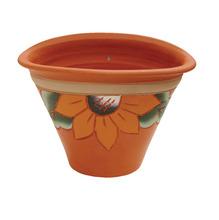 Vaso Cerâmica Floral 13x20cm Natural Associação Adelino