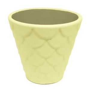 Vaso Cerâmica Florelle Redondo Amarelo Médio