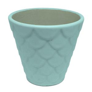 Vaso Cerâmica Florelle Redondo Azul Médio