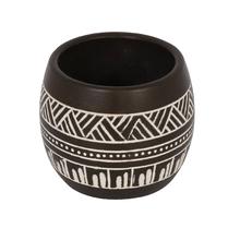 Vaso Cerâmica Folk Malawi Médio Marrom