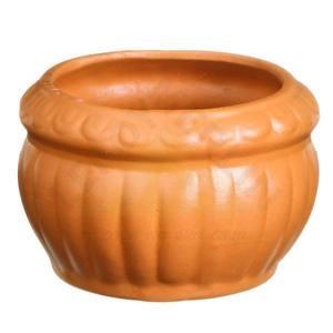 Vaso Cerâmica Frisado 14x16cm Natural Vasos & Cia