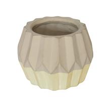 Vaso Cerâmica Nordic Amarelo e Cinza Pequeno