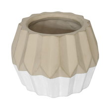 Vaso Cerâmica Nordic Branco e Cinza Pequeno