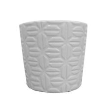 Vaso Cerâmica Pastilha Monochrome Branco Médio