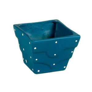 Vaso Cerâmica Petit Poá 9x10cm Azul Vasos & Cia