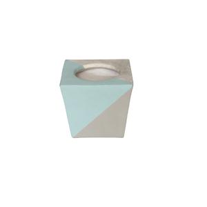 Vaso Cerâmica Quadrado Nordic Azul e Cinza Pequeno