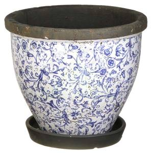 Vaso Cerâmica Redondo com Prato V9367 29x24cm Azul F.G