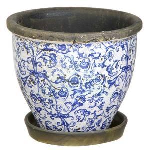 Vaso Cerâmica Redondo com Prato V9374 19x22cm Azul F.G
