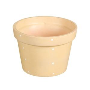 Vaso Cerâmica Violeta Petit Poá 13x18cm Bege Vasos & Cia