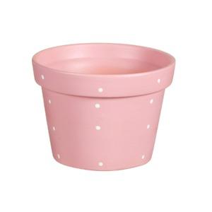 Vaso Cerâmica Violeta Petit Poá 13x18cm Rosa Vasos & Cia