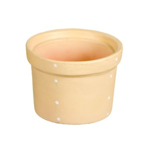 Vaso Cerâmica Violeta Petit Poá 9x13cm Bege Vasos & Cia