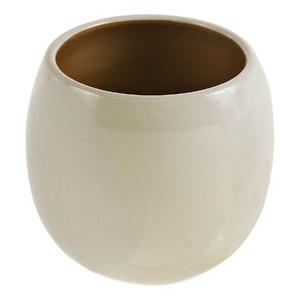 Vaso Cerâmico Esmaltado 2696BG Redondo Branco 28x28x26cm